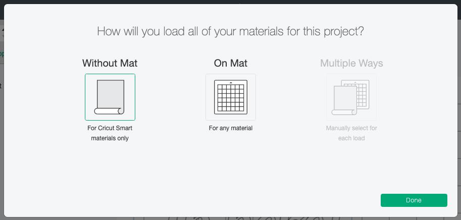 Cricut Design Space: Mat Selection screen