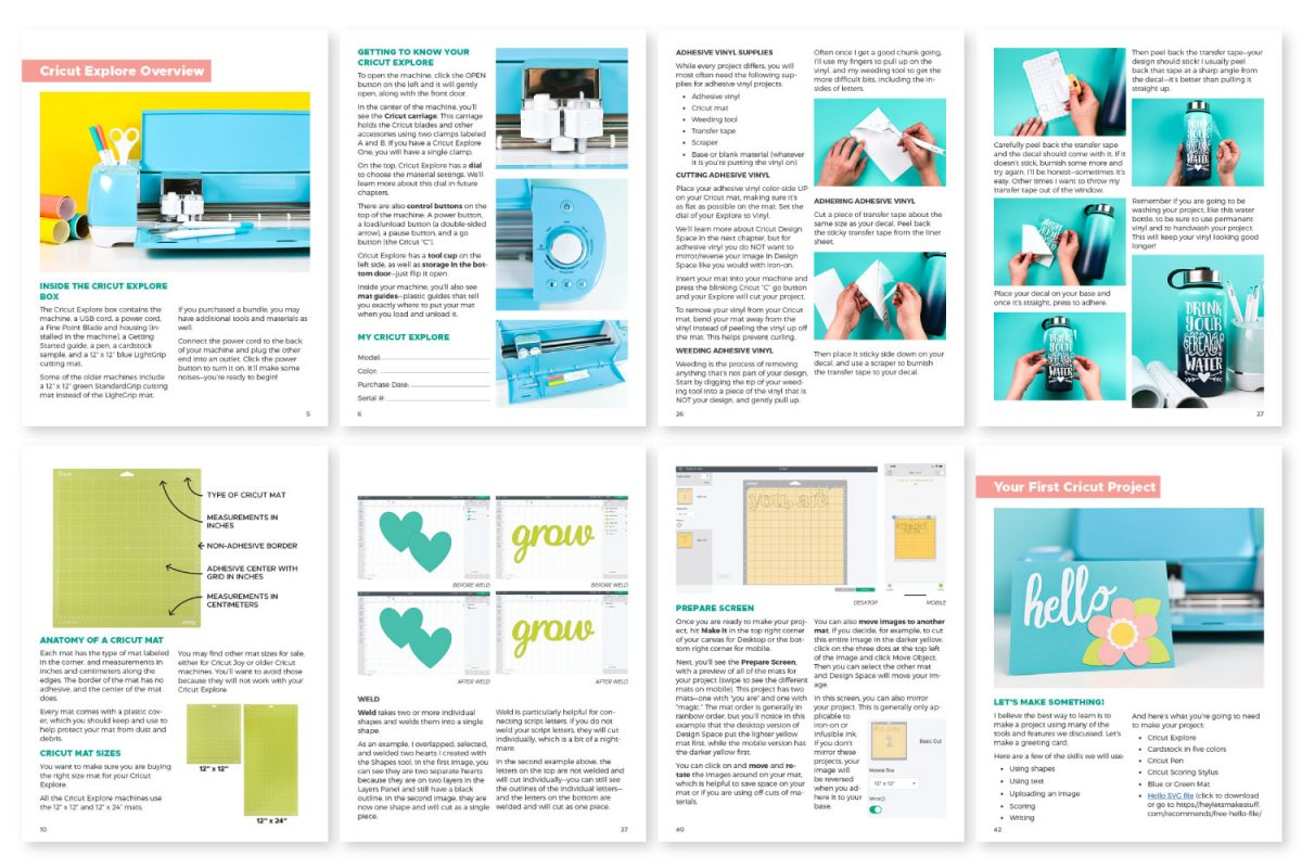 Mockup of internal pages in Cricut Basics