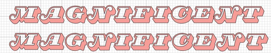 Cricut Design Space: Magnifico Daytime Font showing kerned font and font after real kerning