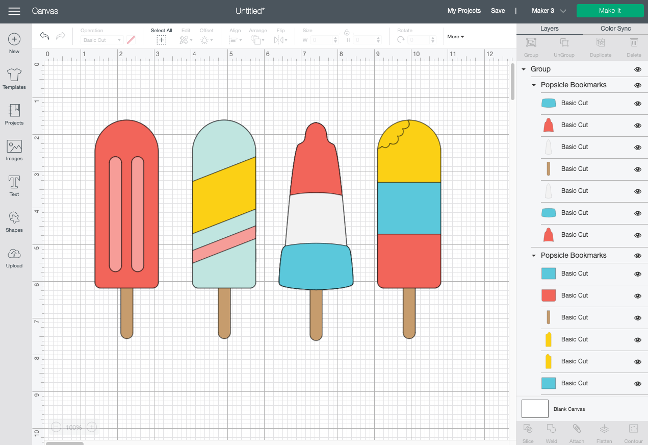 Cricut Design Space: Popsicle file on Canvas