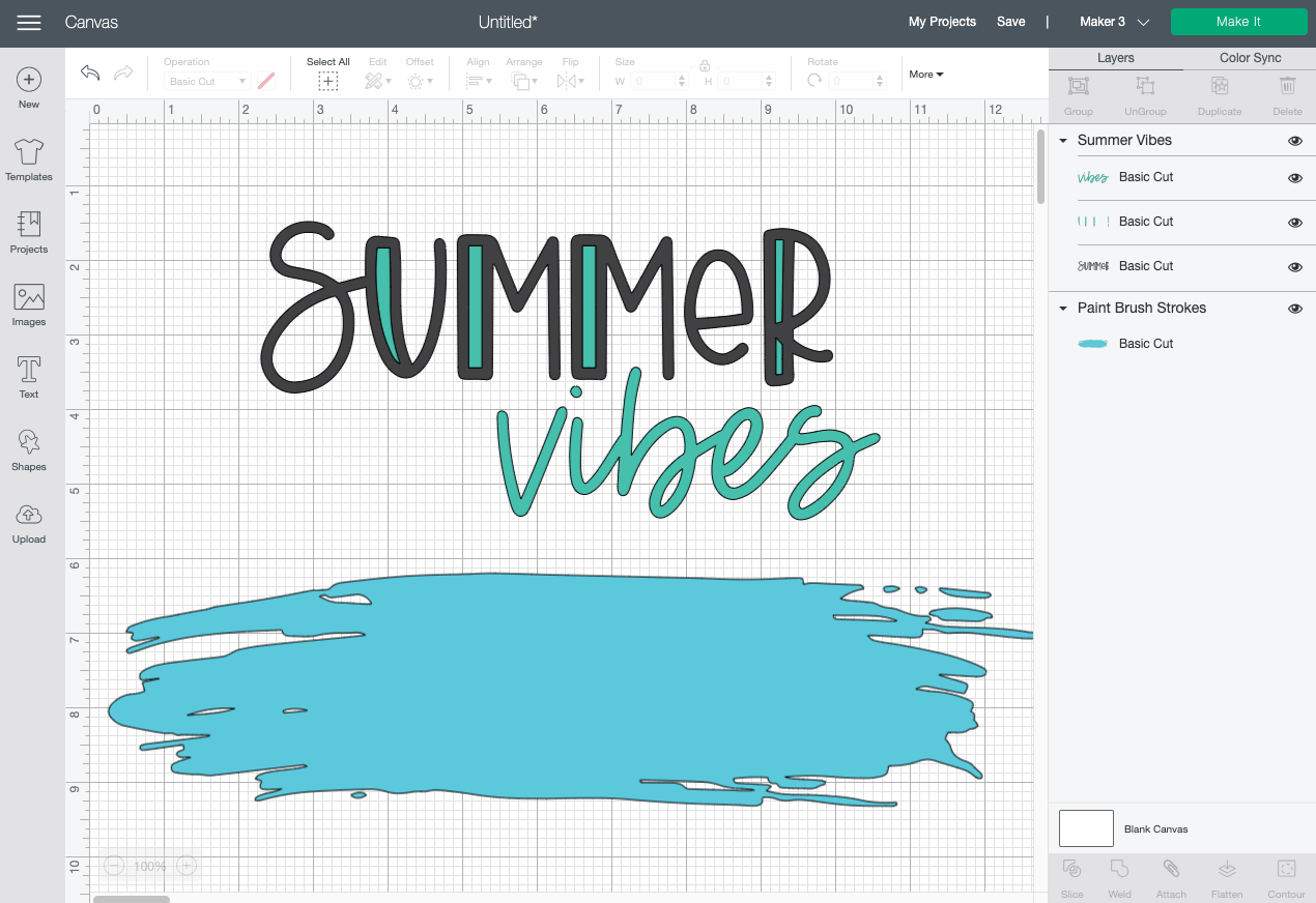 Cricut Design Space: Deleted unwanted brush strokes