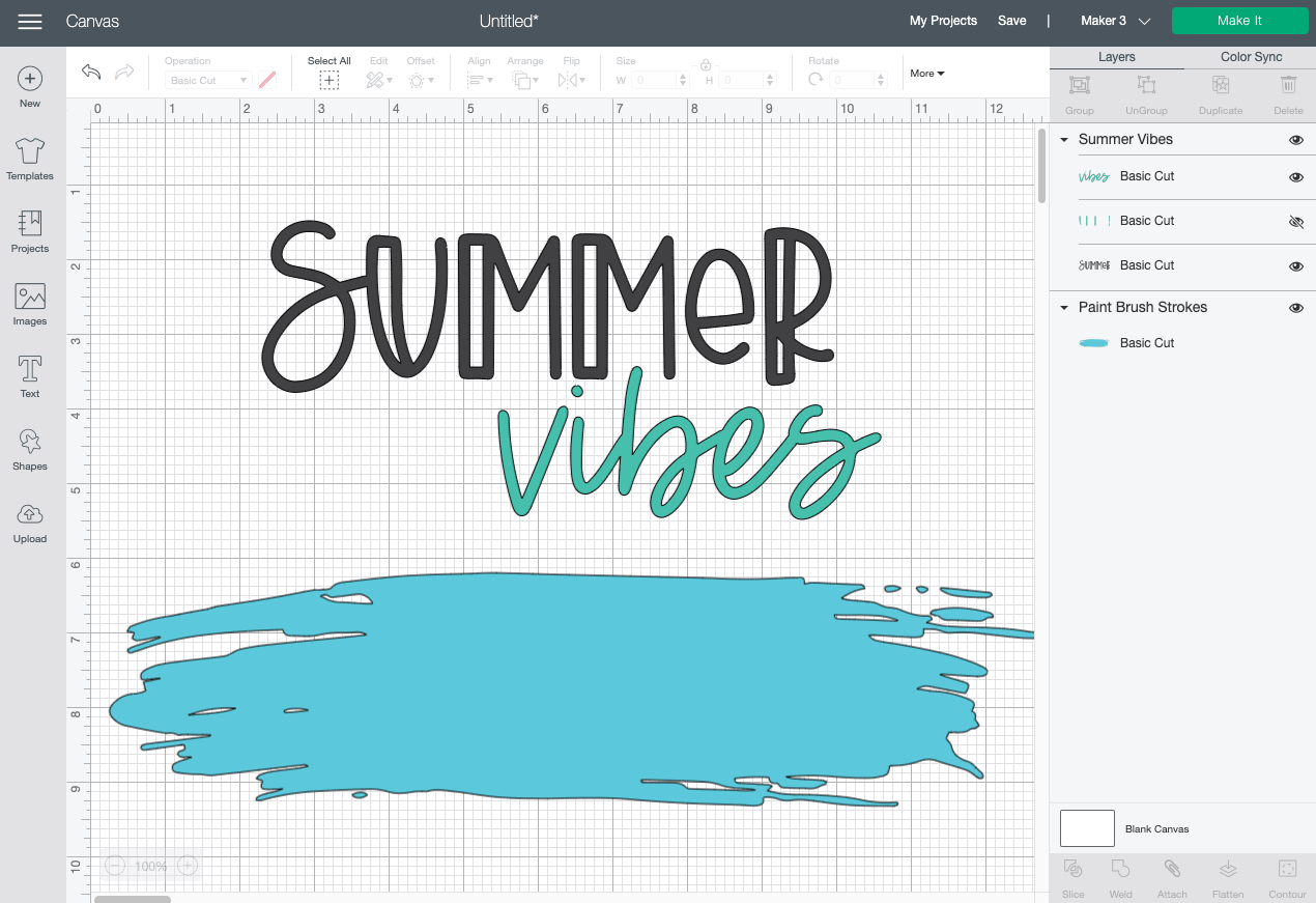 Cricut Design Space: Hide the layer for the Summer accents