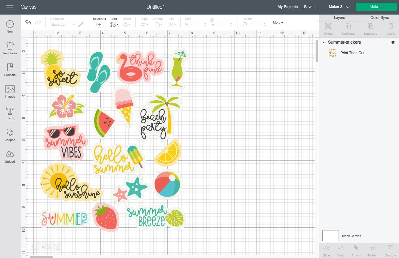 Cricut Design Space: Cricut Summer stickers uploaded to Canvas
