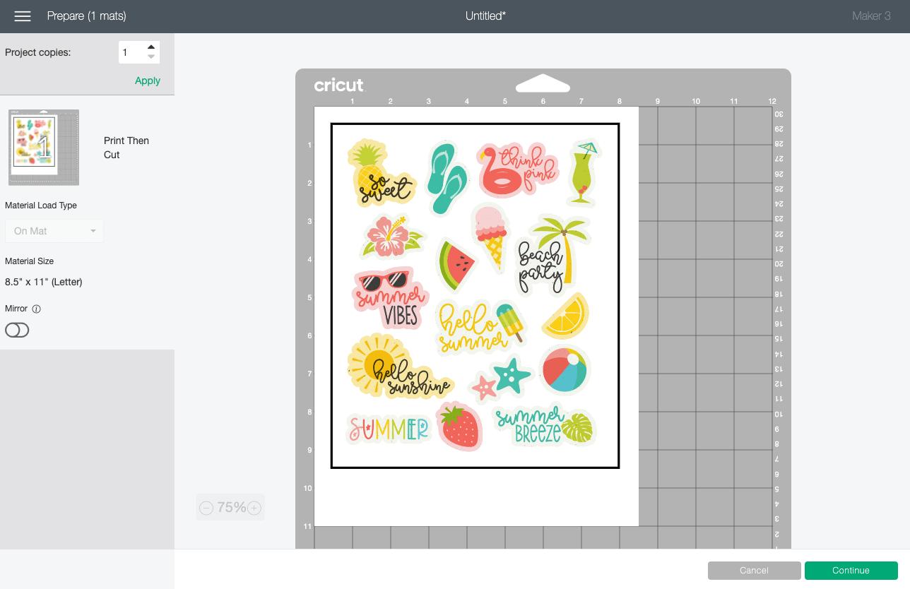 Cricut Design Space: Summer stickers shown in Prepare Screen on mat