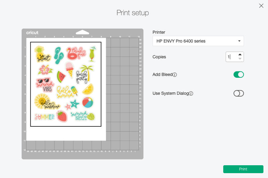 Cricut Design Space: print dialog box showing to print before cutting