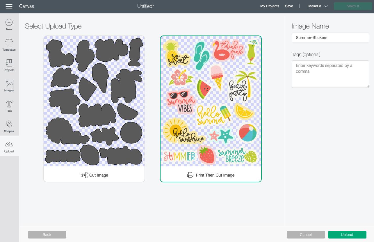 Cricut Design Space: Choose Print then Cut image