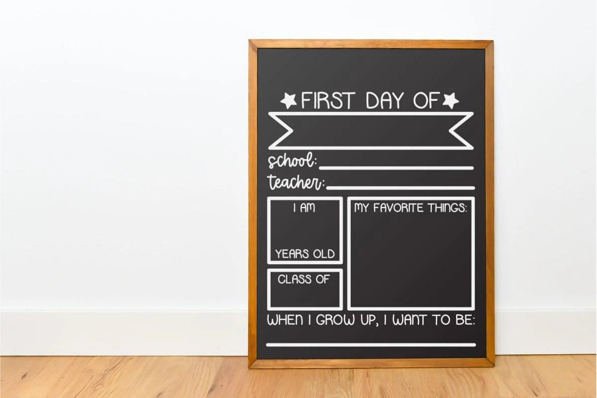 Chalkboard with school framework not filled in