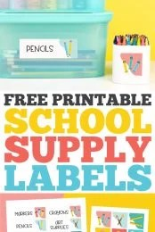 Free printable school supply labels: pin image