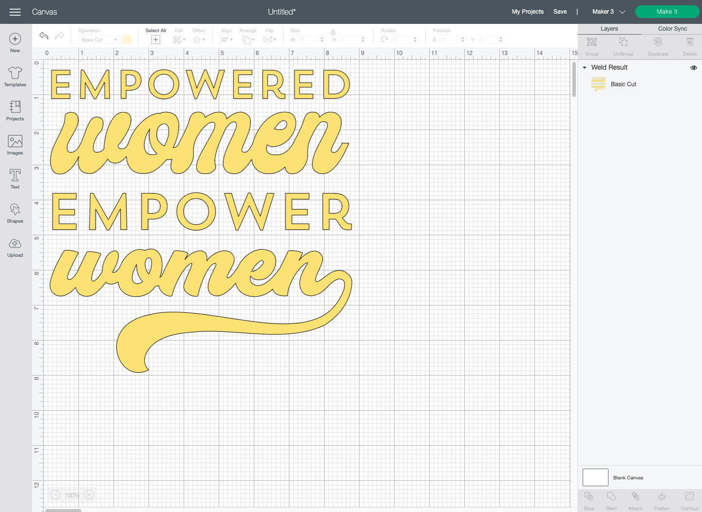 """Cricut Design Space: Welded """"Empowered Women Empower Women"""" image."""