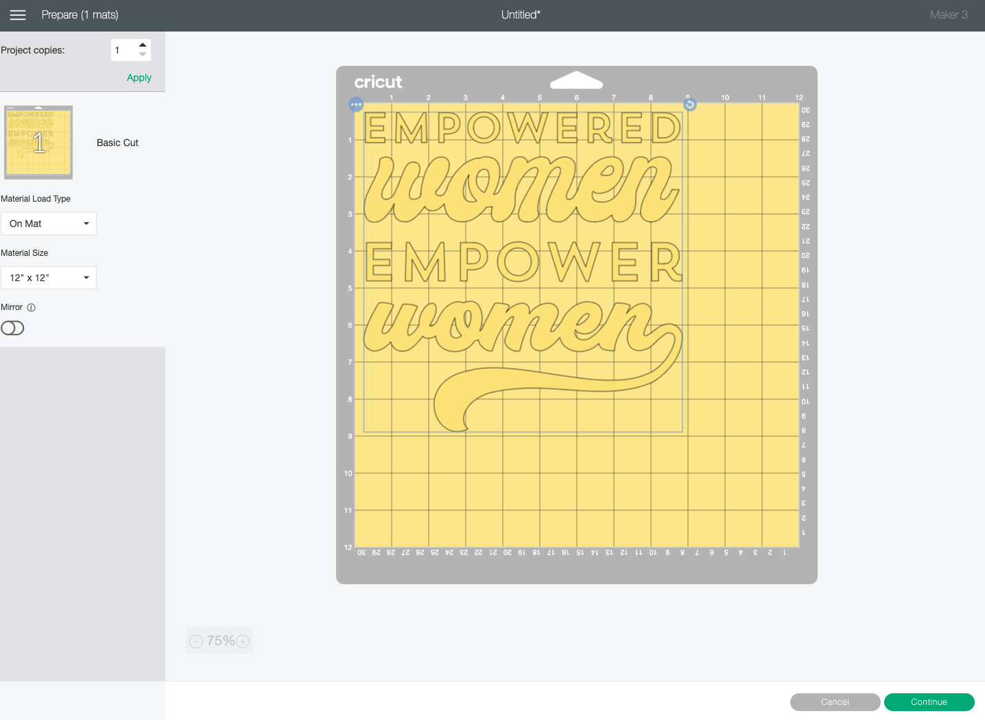 Cricut Design Space: Prepare screen showing images on the same mat.
