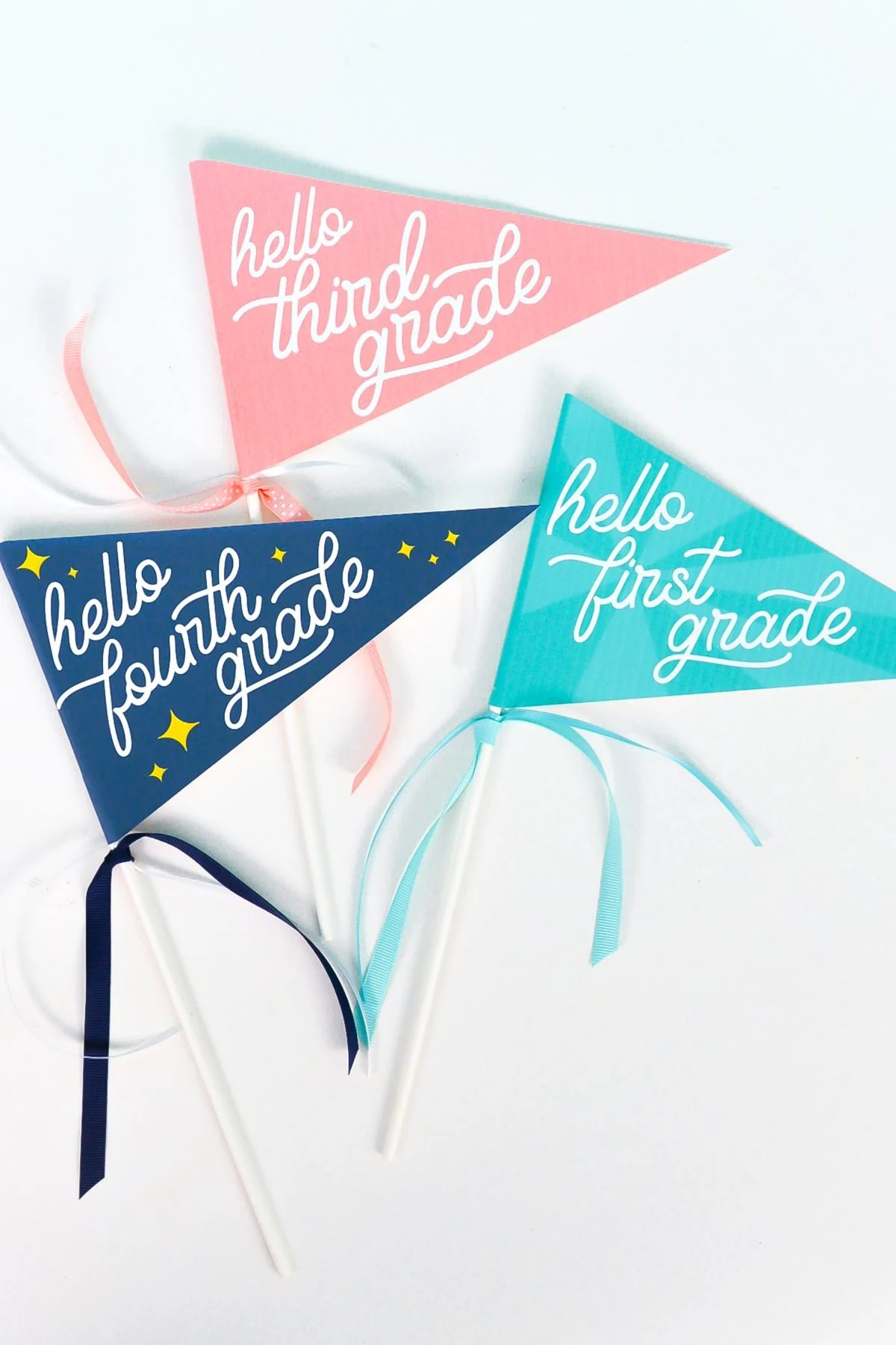 Final printable first day of school flags on a white background.