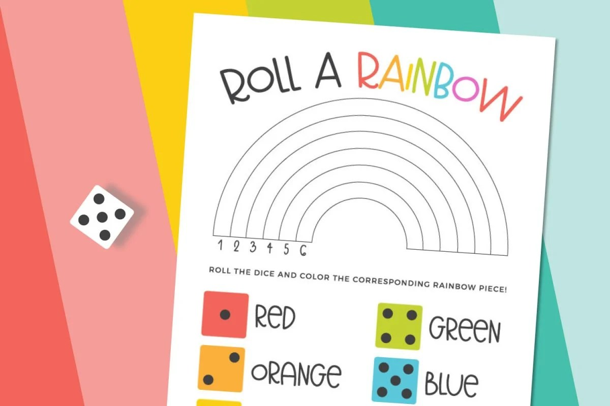Roll a rainbow game with rainbow background and dice.