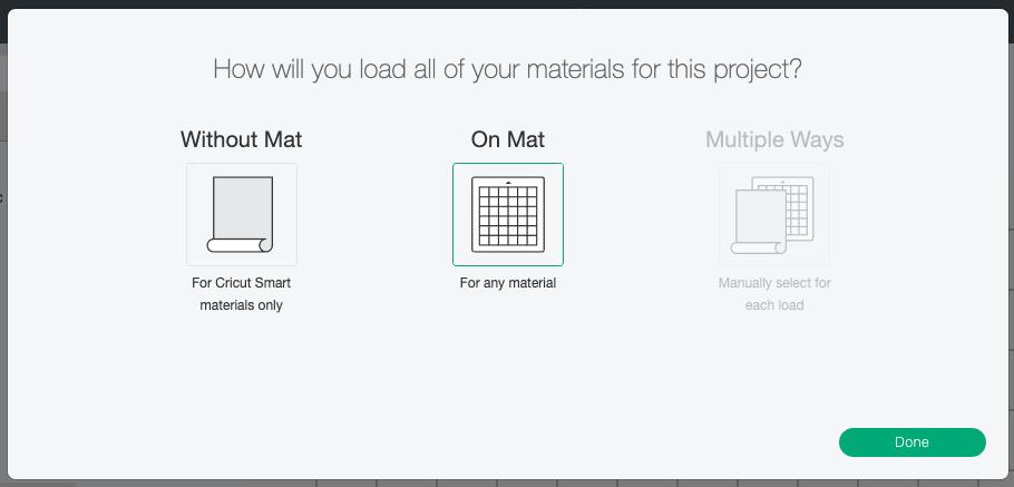"Cricut Design Space: Choose ""On Mat"" when cutting"