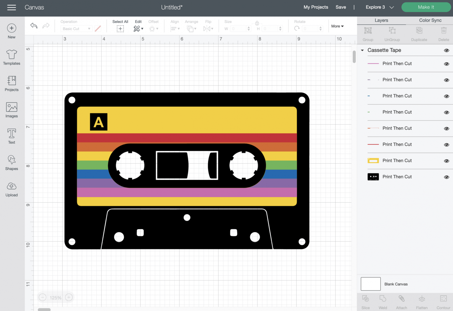 Cricut Design Space: Mix Tape Changed to Print then Cut Linetype