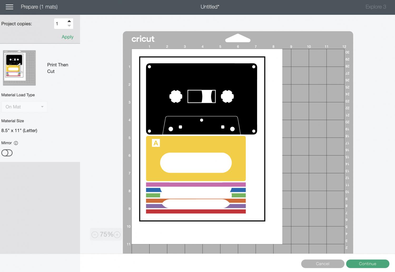 Cricut Design Space: Prepare Screen showing mix tape layers