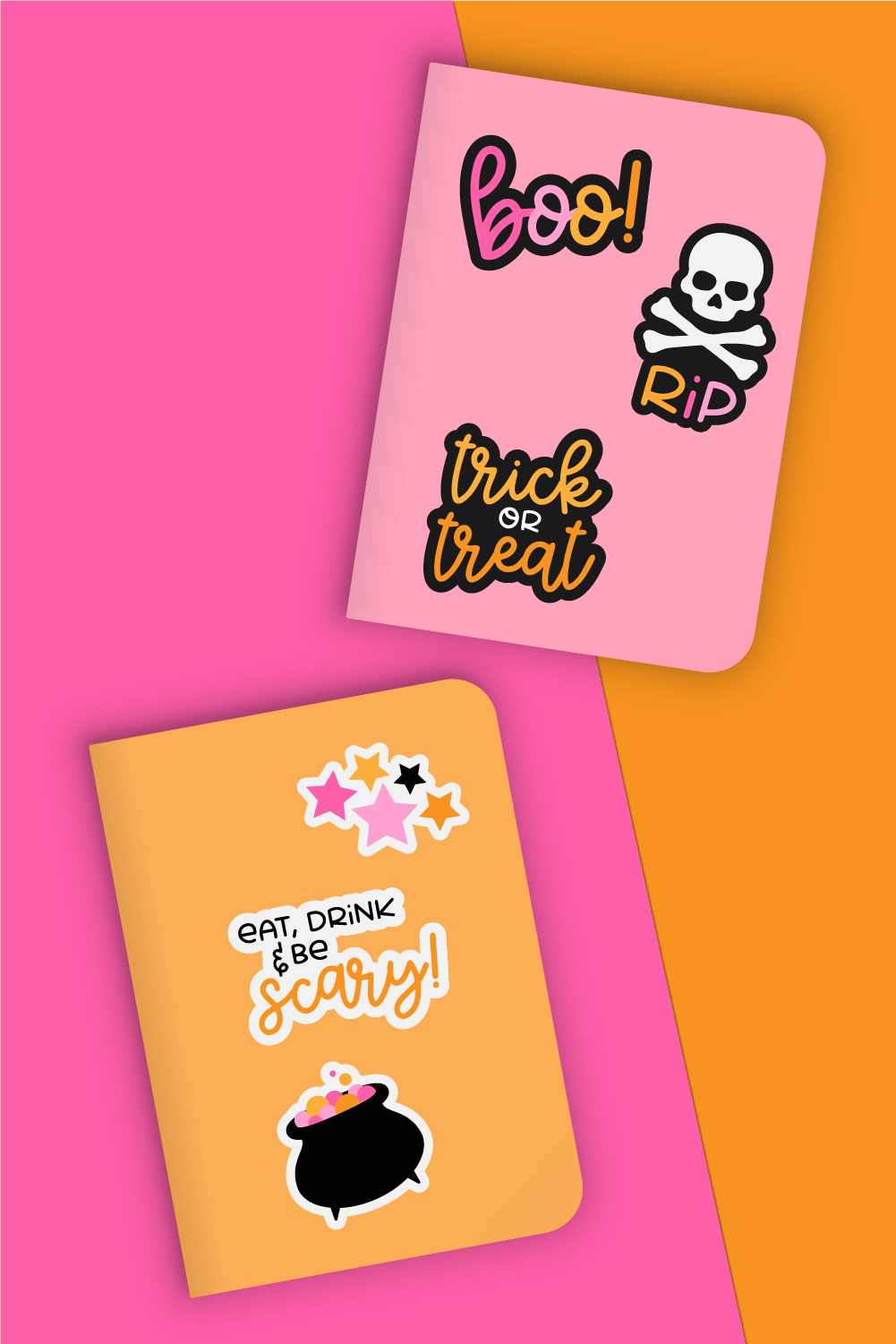Halloween stickers on pink and orange notebooks.