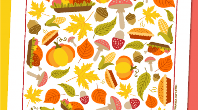 Thanksgiving I-Spy game on yellow and pink background with fake acorns.