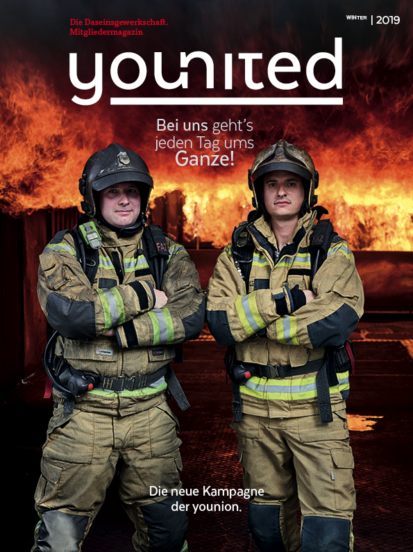 "Younion Coverstory younited, ""Ums Ganze"" Titel"