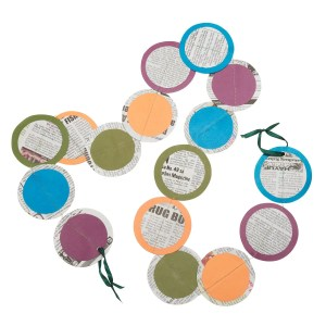 """50"""" Layered Paper And Newspaper Garland String Decoration - Party Dots Garland"""