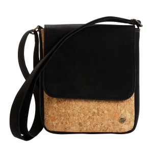 Black And Natural Cork And Synthetic Leather Bag - Cork Messenger Bag