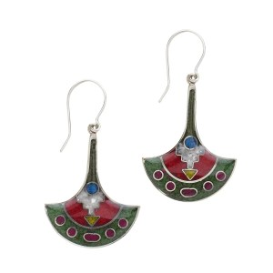 Green And Red Resin And Chips Stone Earrings - Temple Wall Earrings