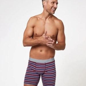 Men's Cabernet Stripe Extended Boxer Brief S