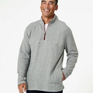 Men's Heather Grey 1/4 Zip Pullover L