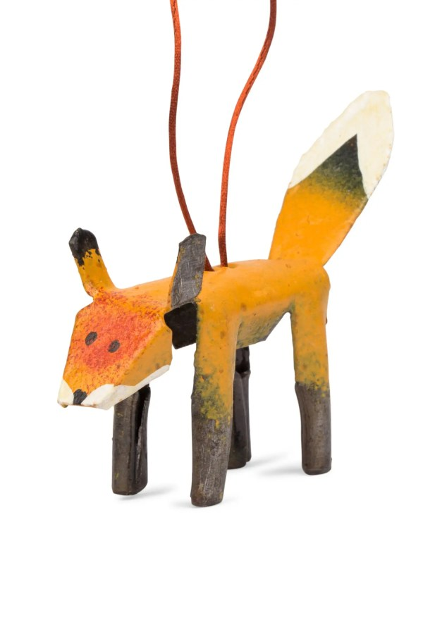 Orange And Black Painted Cut Metal Ornament - Cut Metal Fox Ornament