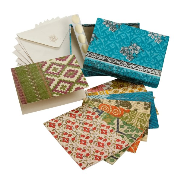 Set Of Eight Assorted Recycled Cloth And Paper Blank Greeting Cards - Correspondence Card Set