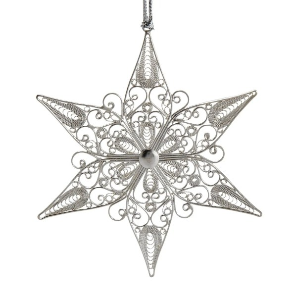 Silver Plated Copper Filigreed Ornament - Filigree Star Ornament