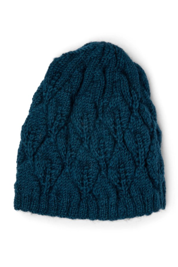 Teal Cable Knit Wool Hat - Wool & Fleece Knit Hat
