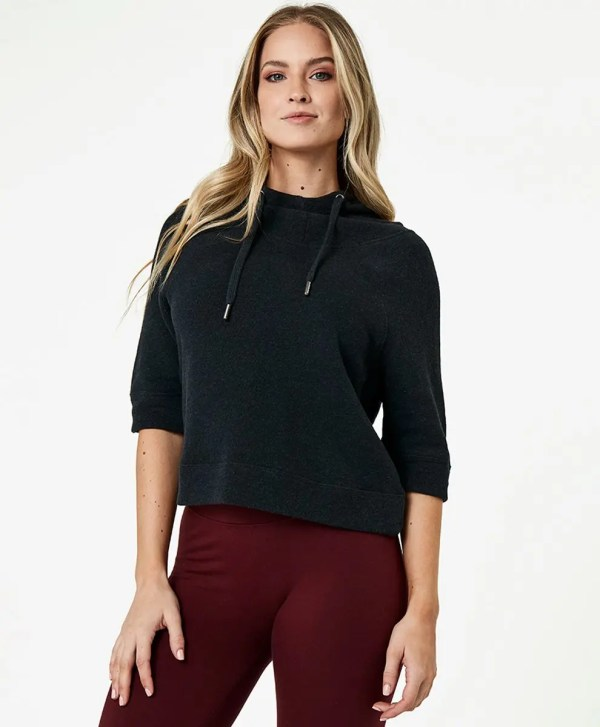 Women's Charcoal Heather Cropped Funnel Neck Pullover XS