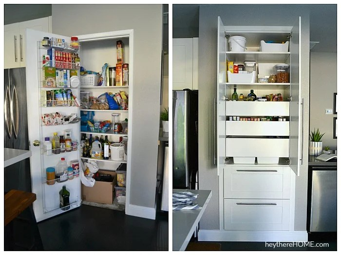 Closet Pantry To Built-In Pantry With Drawers And Pull Out