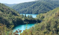 Overhead view of Plitvice Lakes, Croatia