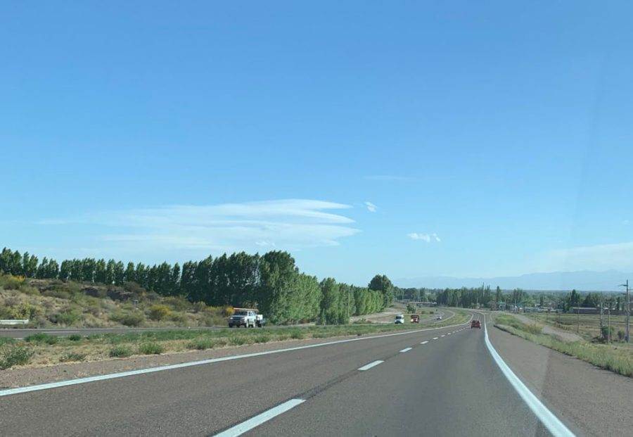 driving in Argentina on a two lane highway