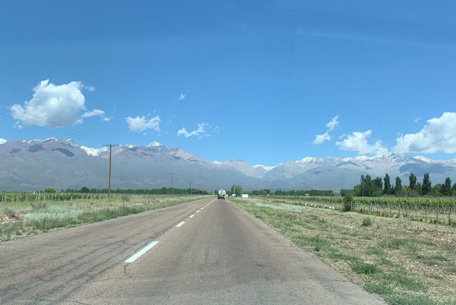 Driving in Argentina towards the Andes mountains.