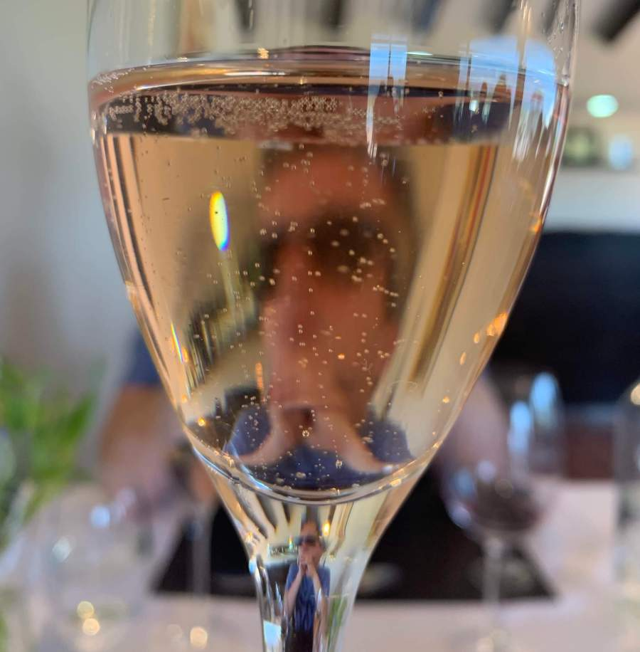 Glass of sparkling rose from Domaine Bousquet.