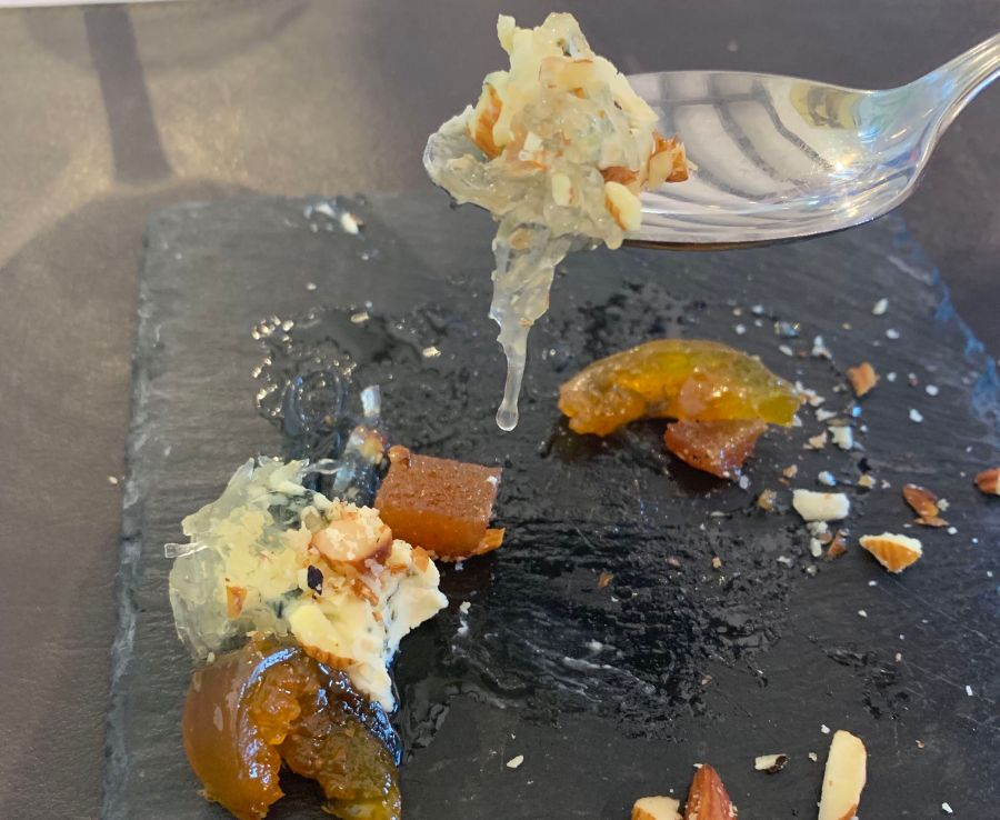 Dessert at Domaine Bousquet. Blue cheese and alcayota on a slate plate.