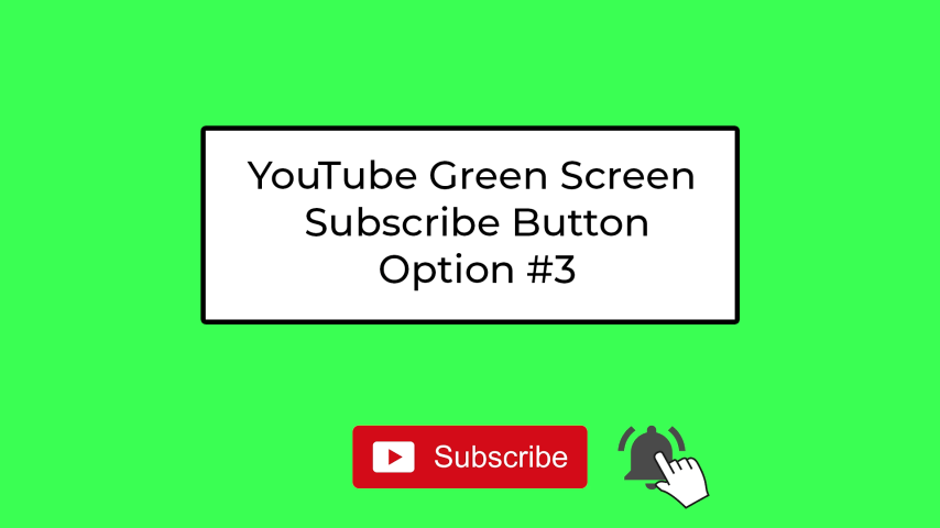 YouTube Green Screen Subscribe Button - Simple #3 - subscribe button and bell with click (dark bell)
