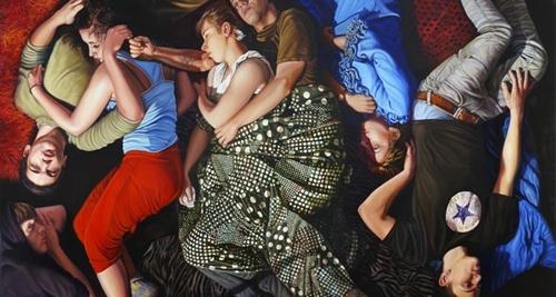 Dimitris Tzamouranis, Melancholia Altar 2012, Polyptychon 420 X 640, Öl auf Holz, Leihgabe der Galerie Michael Haas Berlin, Foto Jens Kunath