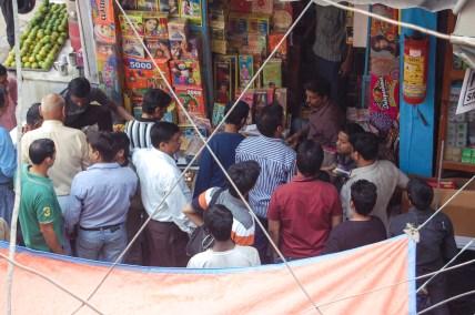 A high angle shot of the Patake wali gali in Chandni Chowk during Diwali