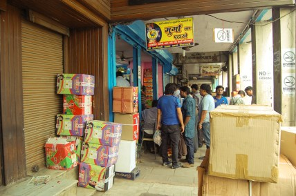 A Store house for fire crackers in Patake wali Gali in Chandni Chowk