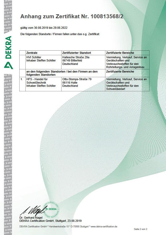 ISO Zertifikat HFS Halle 2