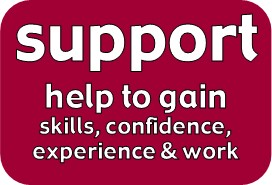 support: community projects, help for people to gain skills, confidence, experience and employment. Work, training, courses, adult education, get into work, find a job, volunteer, volunteering