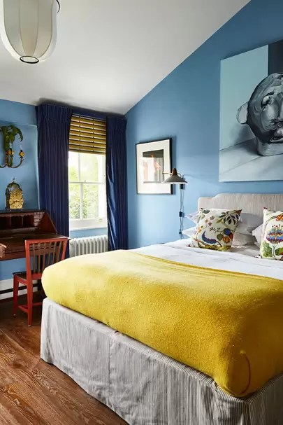 blue and yellow colour schemes house