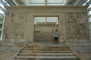 Ph.D. candidate Colin Whiting at the Ara Pacis in Rome.