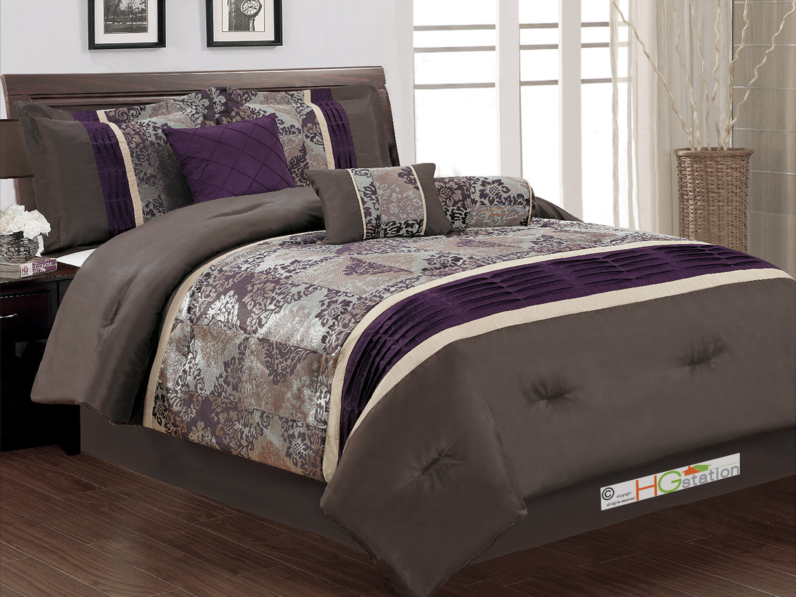 7-Pc Floral Damask Jacquard Patchwork Pleated Comforter