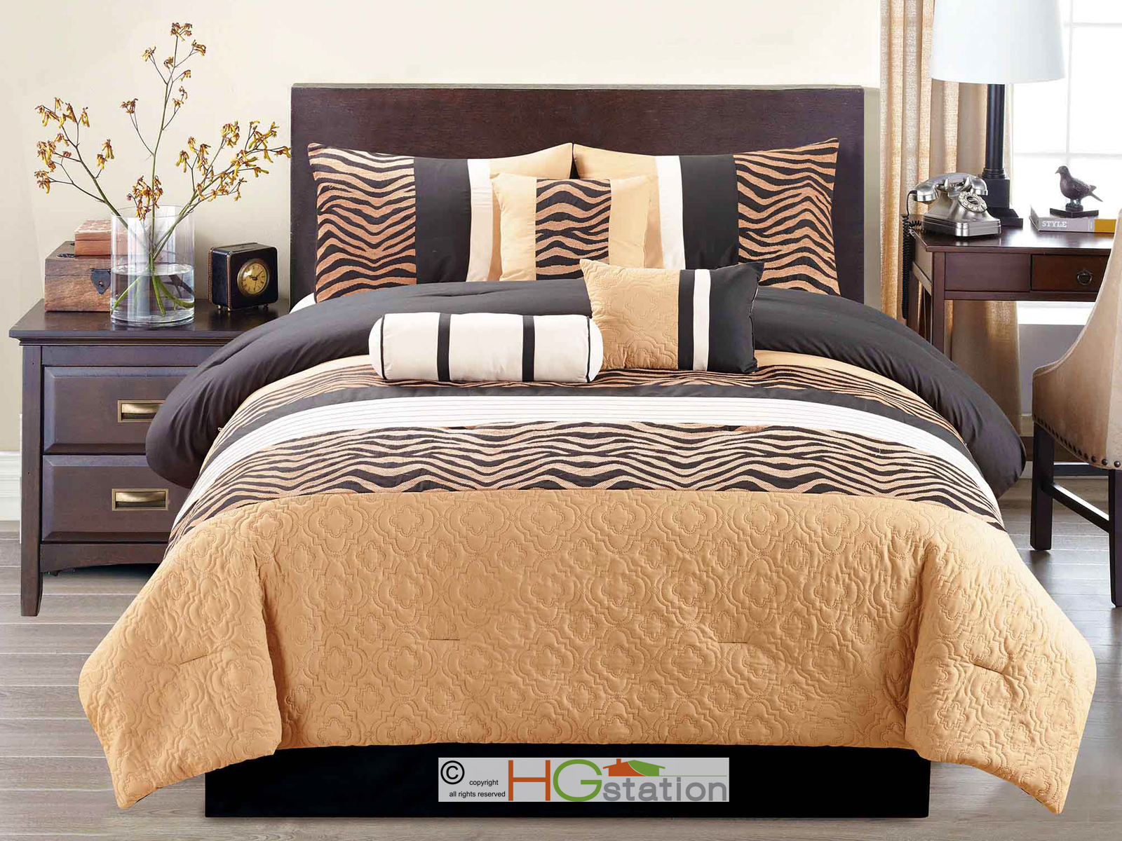 7-Pc Chenille Zebra Striped Quilted Trellis Comforter Set