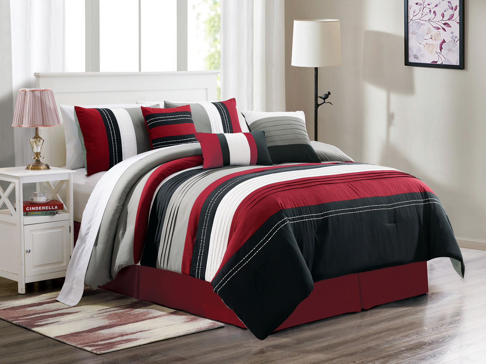 details about 7 jordan embroidery pleated stripe comforter set burgundy black white gray queen