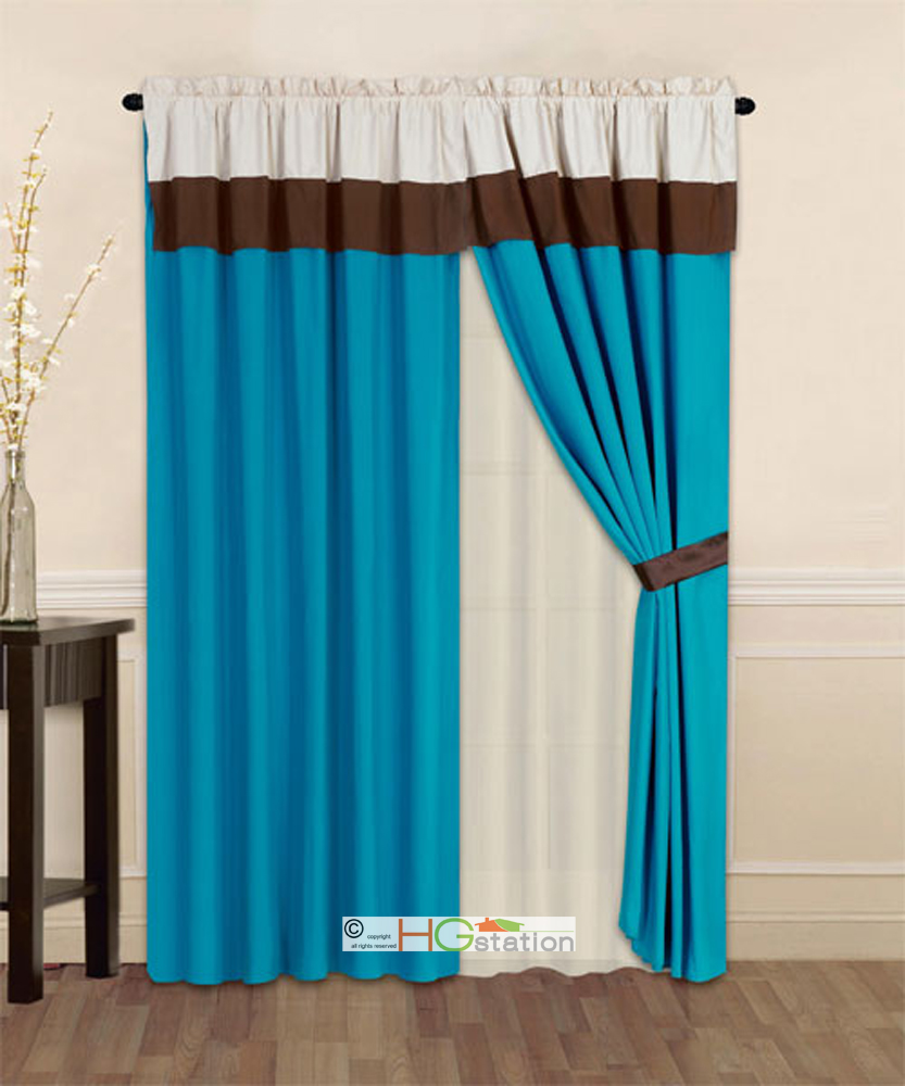 4 Pc Striped Solid Modern Curtain Set Turquoise Brown Beige Valance Liner Drape EBay